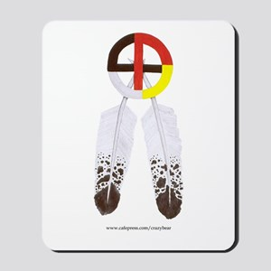 Medicine Wheel w/ Feathers Mousepad