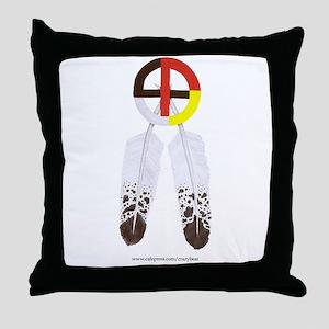 Medicine Wheel w/ Feathers Throw Pillow