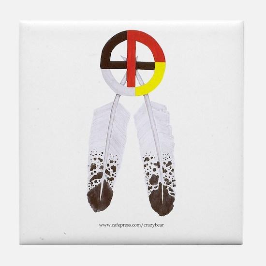 Medicine Wheel w/ Feathers Tile Coaster