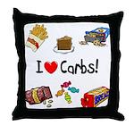 I Love Carbs Throw Pillow