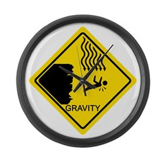 Gravity Yield Sign Large Wall Clock