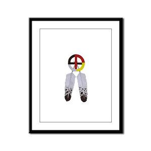 Medicine Wheel w/ Feathers Framed Panel Print