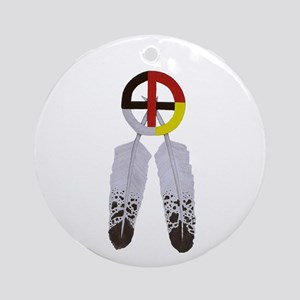 Medicine Wheel w/ Feathers Ornament (Round)