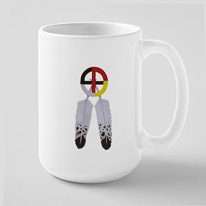 Medicine Wheel w/ Feathers Large Mug