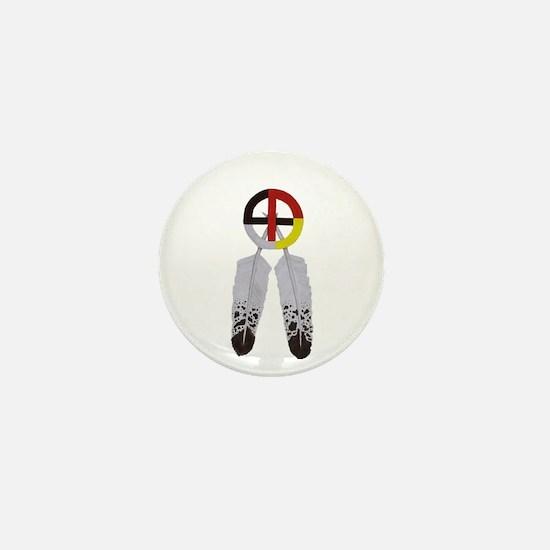 Medicine Wheel w/ Feathers Mini Button