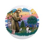 St Francis #2/ Toy Fox Ter. Ornament (Round)