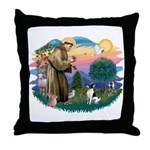 St Francis #2/ Toy Fox Ter. Throw Pillow
