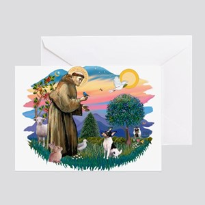 St Francis #2/ Toy Fox Ter. Greeting Card