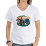 St Francis #2/ Toy Fox Ter. Women's V-Neck T-Shirt