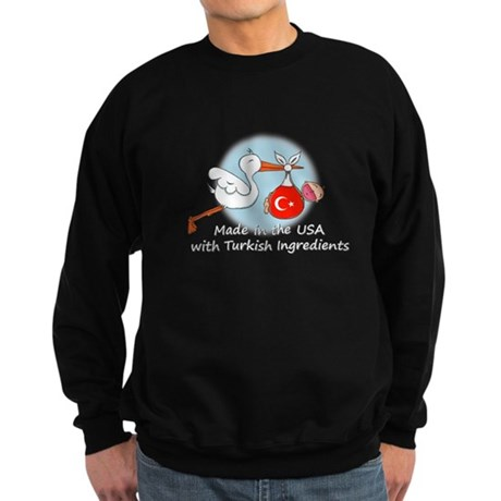 Stork Baby Turkey USA Sweatshirt (dark)