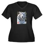 Majesty the Tiger Women's Plus Size V-Neck Dark T-