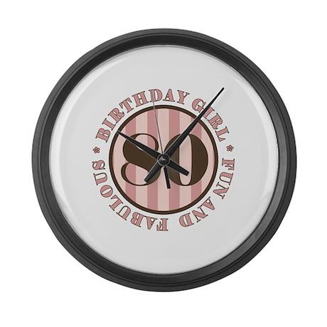 Fun & Fabulous 80th Birthday Large Wall Clock