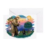 St Francis #2/ Schipperke #4 Greeting Cards (Pk of