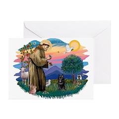 St Francis #2/ Schipperke #4 Greeting Cards (Pk of