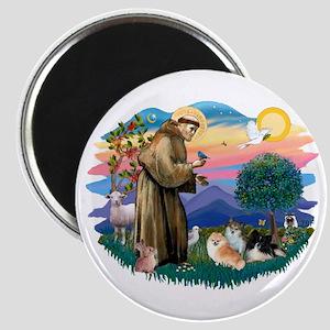 St Francis #2/Pomeranians(3) Magnet