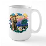 St Francis #2/Pomeranians(3) Large Mug