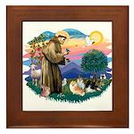 St Francis #2/Pomeranians(3) Framed Tile