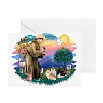 St Francis #2/Pomeranians(3) Greeting Cards (Pk of