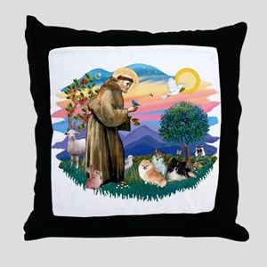 St Francis #2/Pomeranians(3) Throw Pillow