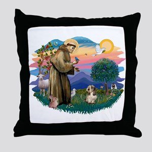 St Francis #2/ PBGV #4 Throw Pillow