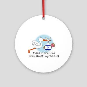 Stork Baby Israel USA Ornament (Round)