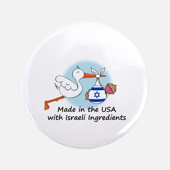"""Stork Baby Israel USA 3.5"""" Button"""