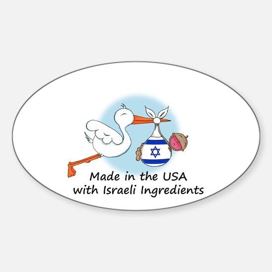 Stork Baby Israel USA Sticker (Oval)