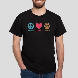 Peace Love Dogs Dark T-Shirt
