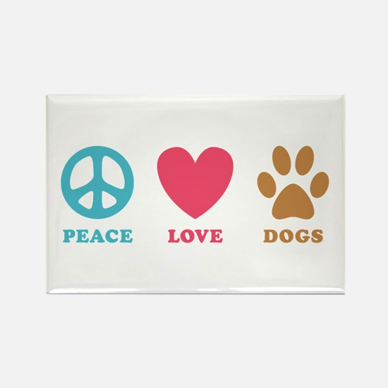 Peace Love Dogs Rectangle Magnet
