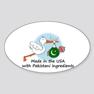 Stork Baby Pakistan USA Sticker (Oval)