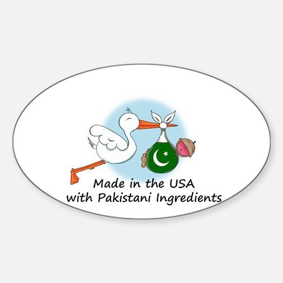 Stork Baby Pakistan USA Sticker (Oval)