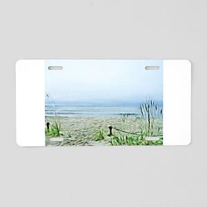 Painted Peaceful Seascape Aluminum License Plate