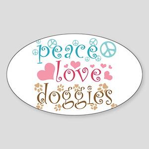 Peace Love Doggies Sticker (Oval)