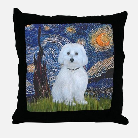 Starry / Maltese (B) Throw Pillow