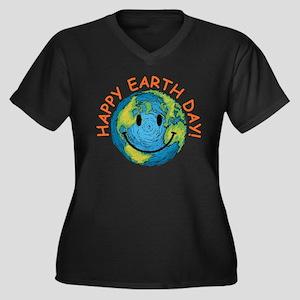 Happy Earth Day Women's Plus Size V-Neck Dark T-Sh