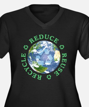 Reduce Reuse Recycle [globe] Women's Plus Size V-N