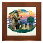 St Francis #2/ Cockers(2 buff) Framed Tile