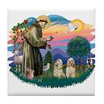 St Francis #2/ Cockers(2 buff) Tile Coaster