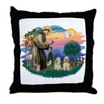 St Francis #2/ Cockers(2 buff) Throw Pillow