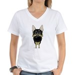 Big Nose German Shepherd Women's V-Neck T-Shirt