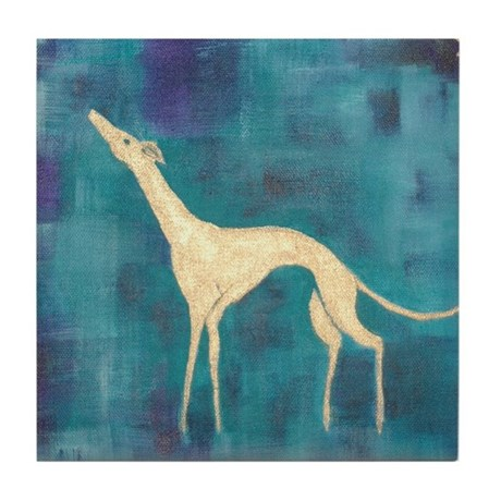 Standing Greyhound Tile Coaster
