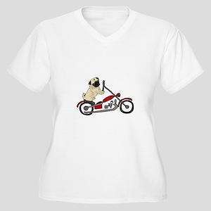 Pug Dog Riding Motorcycle Plus Size T-Shirt