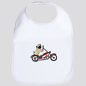 Pug Dog Riding Motorcycle Baby Bib