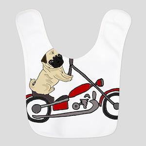 Pug Dog Riding Motorcycle Polyester Baby Bib