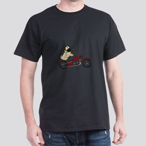 Pug Dog Riding Motorcycle T-Shirt