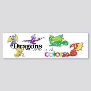 Dragons Come in all Colors Sticker (Bumper)