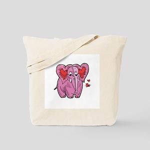 Cute Valentine Heart Elephant Tote Bag