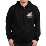 It's a Girl Zip Hoodie (dark)
