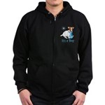 Jack Russell, It's A Boy Gifts Zip Hoodie (dark)