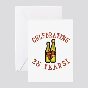 25th Anniversary Wine Bow Greeting Card